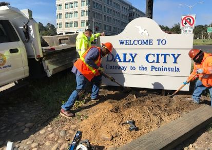City sign installation